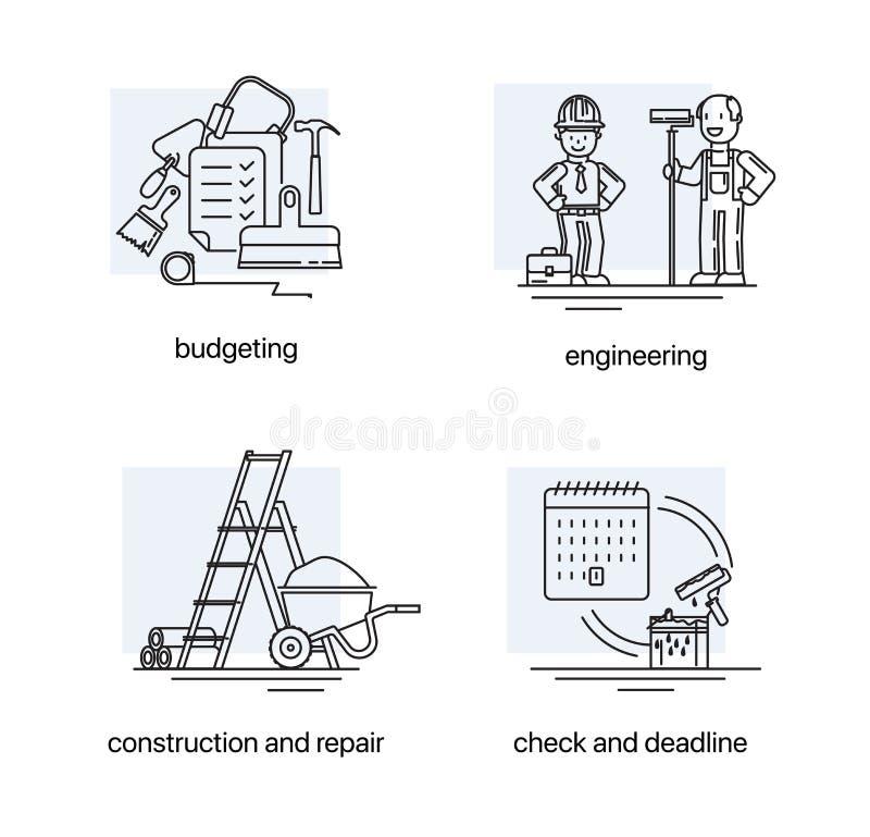 Σύγχρονο λεπτό σύνολο εικονιδίων γραμμών οικοδομών στα εργαλεία περιοχών και οικοδόμησης διανυσματική απεικόνιση