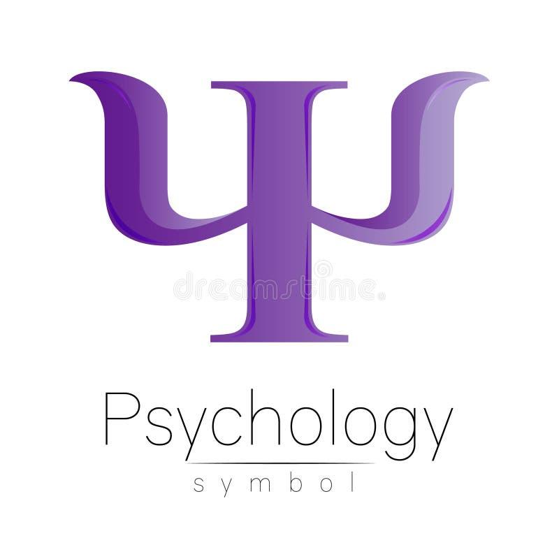 Σύγχρονο λογότυπο της ψυχολογίας PSI Δημιουργικό ύφος Logotype στο διάνυσμα Έννοια σχεδίου Επιχείρηση εμπορικών σημάτων Ιώδες χρώ διανυσματική απεικόνιση