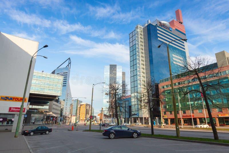 Σύγχρονο μέρος της πόλης του Ταλίν Άποψη οδών στοκ εικόνες