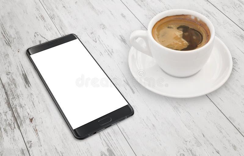 Σύγχρονο μαύρο έξυπνο τηλέφωνο στον άσπρο ξύλινο πίνακα στοκ φωτογραφία