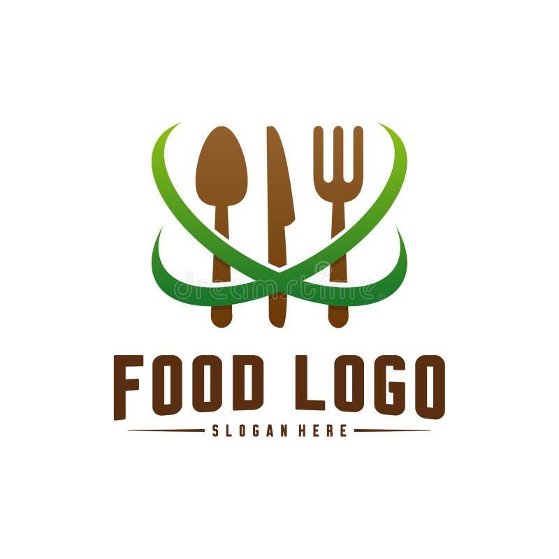 Σύγχρονο μινιμαλιστικό διανυσματικό λογότυπο των τροφίμων Μαγειρεύοντας πρότυπο λογότυπων Ετικέτα για το εστιατόριο ή τον καφέ επ διανυσματική απεικόνιση