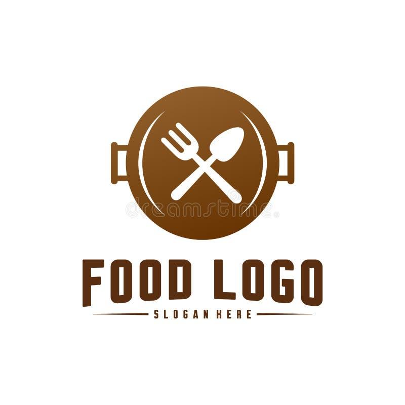 Σύγχρονο μινιμαλιστικό διανυσματικό λογότυπο των τροφίμων Μαγειρεύοντας πρότυπο λογότυπων Ετικέτα για το εστιατόριο ή τον καφέ επ ελεύθερη απεικόνιση δικαιώματος