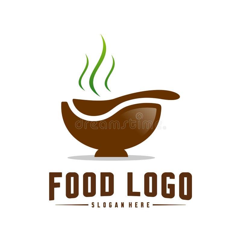 Σύγχρονο μινιμαλιστικό διανυσματικό λογότυπο των τροφίμων Μαγειρεύοντας πρότυπο λογότυπων Ετικέτα για το εστιατόριο ή τον καφέ επ απεικόνιση αποθεμάτων