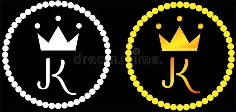 Σύγχρονο μινιμαλιστικό λογότυπο γραμμάτων Κ κορωνών διανυσματική απεικόνιση