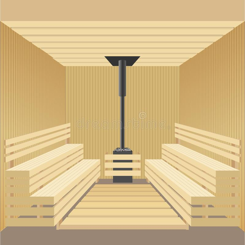 Σύγχρονο ξύλινο λουτρό σαουνών με τη σόμπα πετρών επίσης corel σύρετε το διάνυσμα απεικόνισης ελεύθερη απεικόνιση δικαιώματος