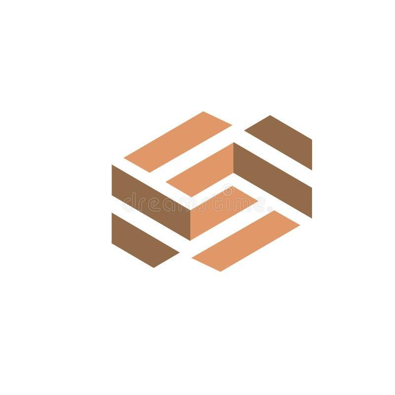 Σύγχρονο ξύλινο λογότυπο δαπέδων ελεύθερη απεικόνιση δικαιώματος