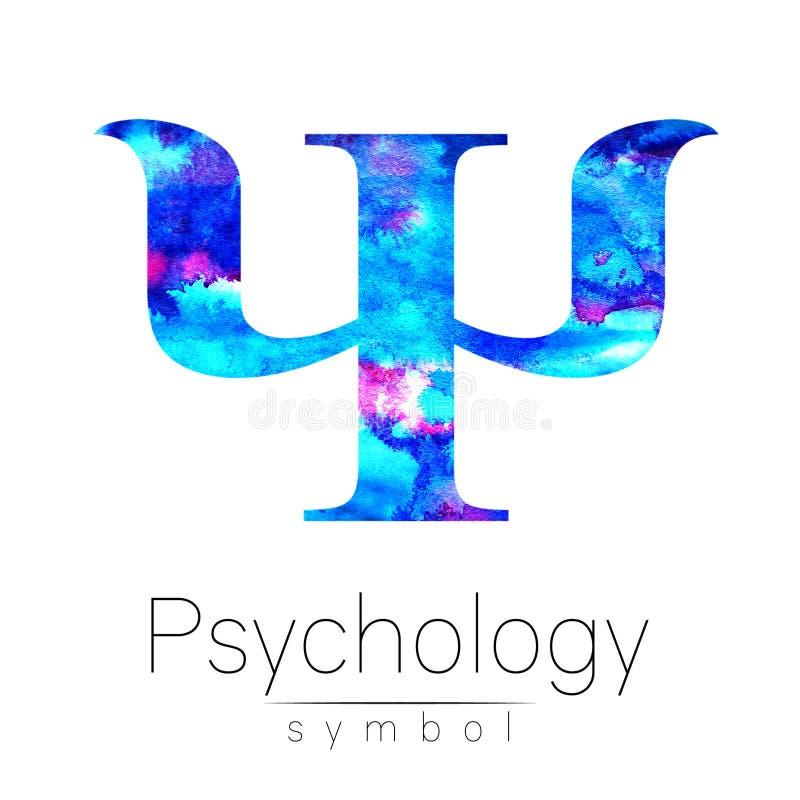 Σύγχρονο λογότυπο Watercolor PSI της ψυχολογίας Δημιουργικό ύφος Logotype μέσα Έννοια σχεδίου Επιχείρηση εμπορικών σημάτων Μπλε φ απεικόνιση αποθεμάτων