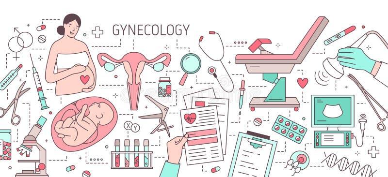 Σύγχρονο οριζόντιο έμβλημα με τη έγκυο γυναίκα, έμβρυο στη μήτρα, μήτρα, γυναικολογική καρέκλα εξέτασης και ιατρικός διανυσματική απεικόνιση