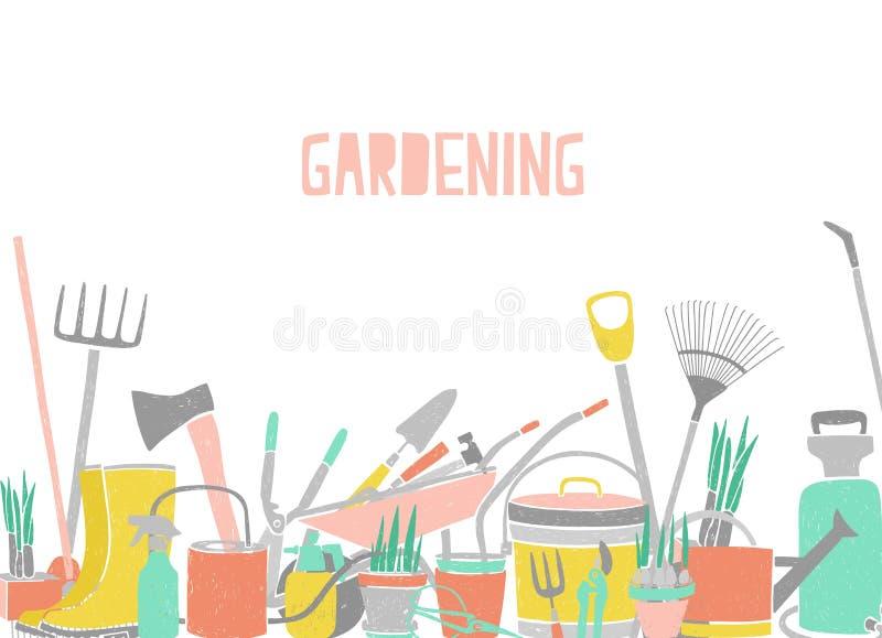 Σύγχρονο οριζόντιο σκηνικό με την άκρη εργαλείων κηπουρικής επί της ουσίας στο άσπρο υπόβαθρο Γεωργικός εξοπλισμός για τις εγκατα ελεύθερη απεικόνιση δικαιώματος