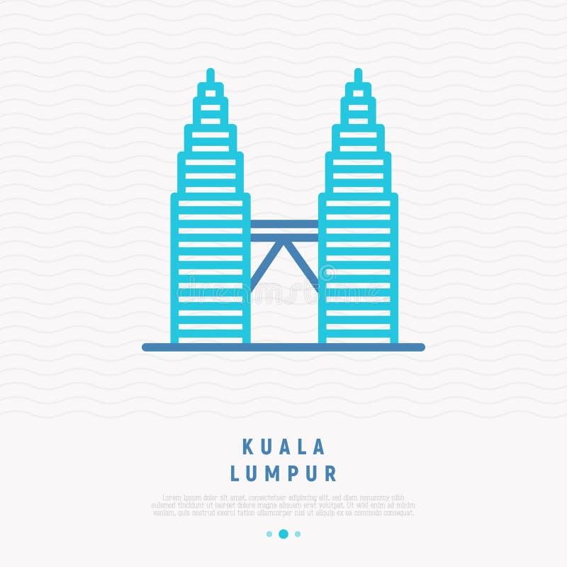 Σύγχρονο ορόσημων εικονίδιο γραμμών της Κουάλα Λουμπούρ λεπτό απεικόνιση αποθεμάτων