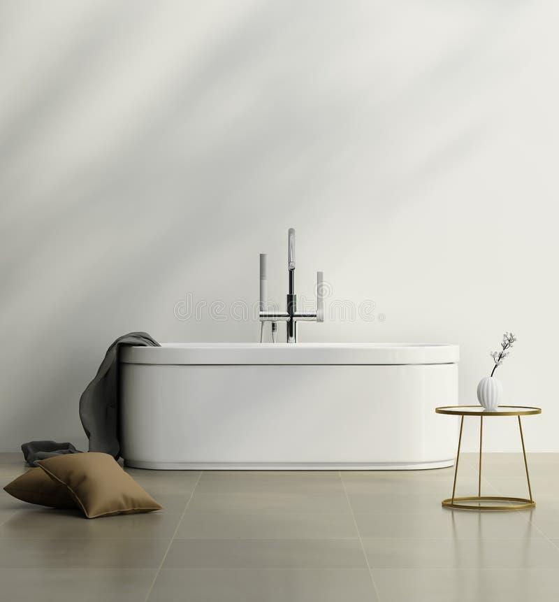 Σύγχρονο λουτρό με μια άσπρη ελάχιστη μπανιέρα στοκ φωτογραφίες με δικαίωμα ελεύθερης χρήσης