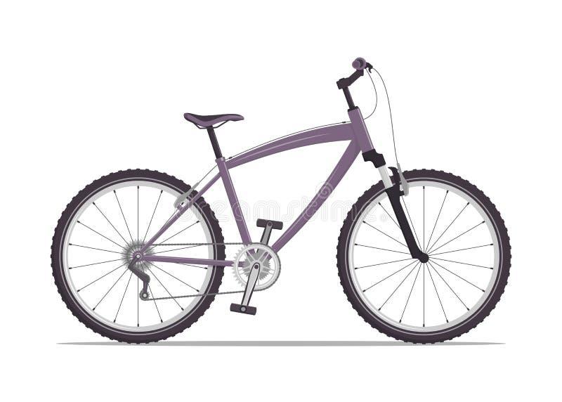 Σύγχρονο ποδήλατο πόλεων ή βουνών με τα β-φρένα Πολλαπλών ταχυτήτων ποδήλατο για τους ενηλίκους Διανυσματική επίπεδη απεικόνιση,  ελεύθερη απεικόνιση δικαιώματος