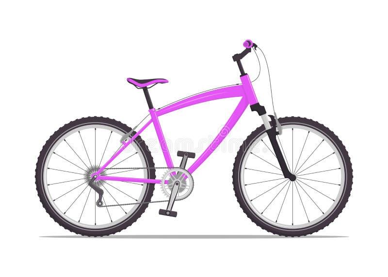 Σύγχρονο ποδήλατο πόλεων ή βουνών με τα β-φρένα Πολλαπλών ταχυτήτων ποδήλατο για τους ενηλίκους Διανυσματική επίπεδη απεικόνιση,  διανυσματική απεικόνιση