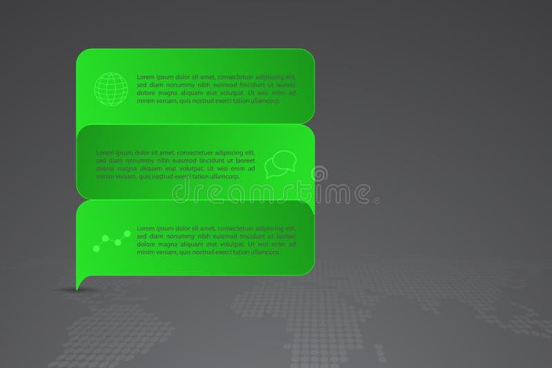 Σύγχρονο πράσινο infographics, υπόδειξη ως προς το χρόνο ή Di μορφής ορθογωνίων doodle απεικόνιση αποθεμάτων