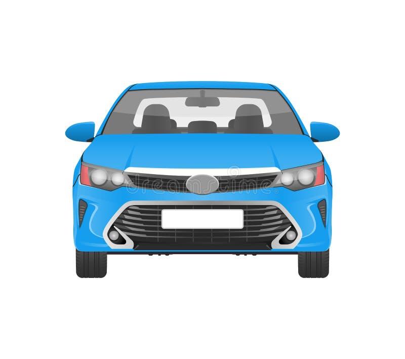 Σύγχρονο πρακτικό αυτοκίνητο κατά την μπλε μπροστινή άποψη σωμάτων διανυσματική απεικόνιση