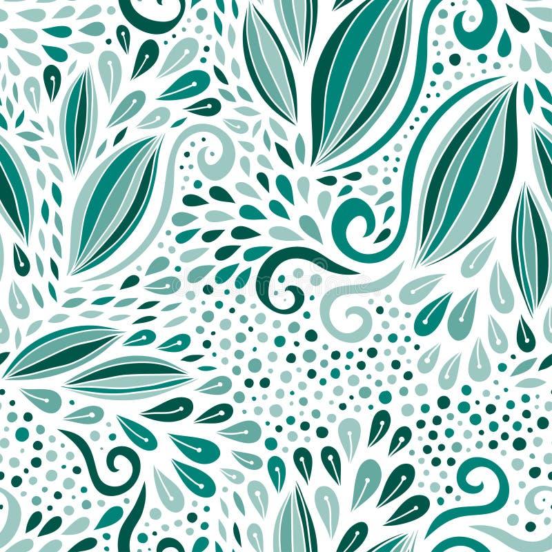 σύγχρονο πρότυπο άνευ ραφή&s Τυρκουάζ διακόσμηση φύσης Διανυσματική τυπωμένη ύλη για το υφαντικό ή σχέδιο συσκευασίας απεικόνιση αποθεμάτων