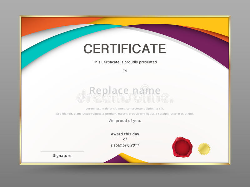 Σύγχρονο πρότυπο εκτίμησης πιστοποιητικών σχέδιο διπλωμάτων διάνυσμα διανυσματική απεικόνιση
