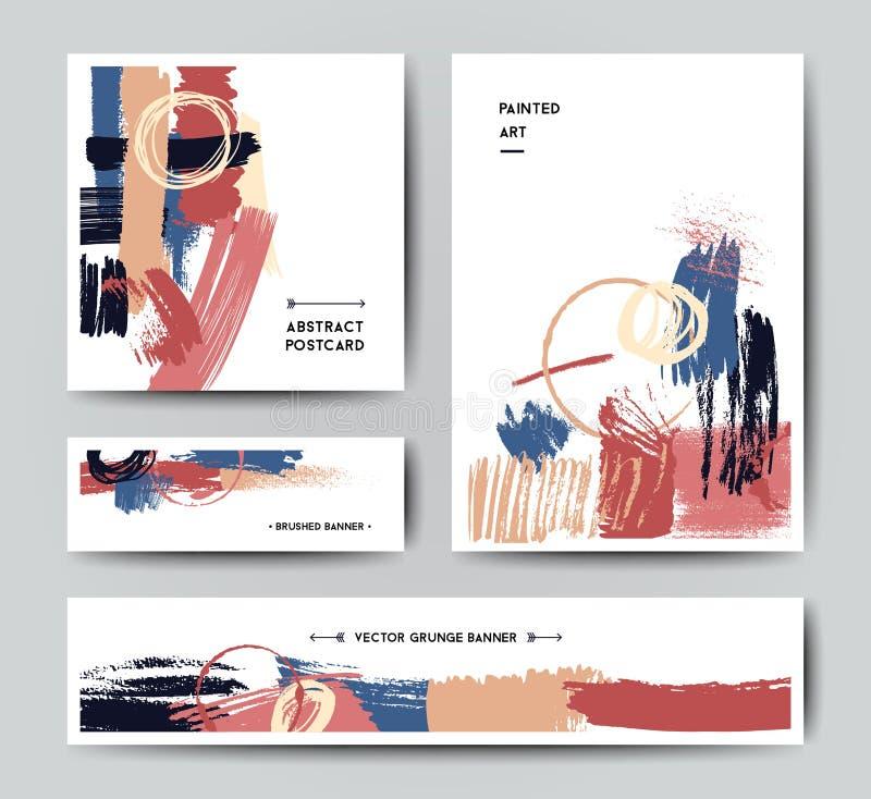 Σύγχρονο πρότυπο καρτών βουρτσών grunge διανυσματική απεικόνιση