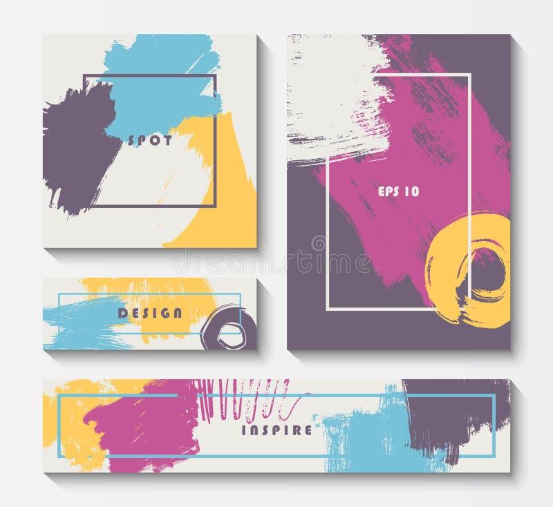 Σύγχρονο πρότυπο καρτών βουρτσών grunge απεικόνιση αποθεμάτων