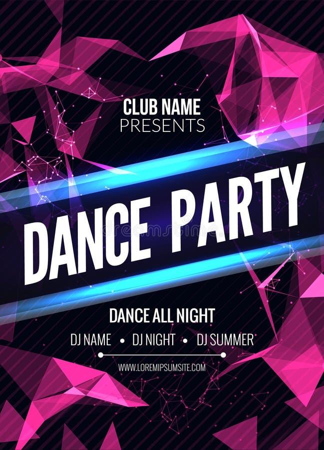 Σύγχρονο πρότυπο κόμματος μουσικής λεσχών, ιπτάμενο κόμματος χορού, φυλλάδιο Υγιής αφίσα εμβλημάτων λεσχών κόμματος νύχτας απεικόνιση αποθεμάτων