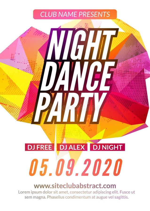 Σύγχρονο πρότυπο κόμματος μουσικής λεσχών, ιπτάμενο κόμματος χορού νύχτας, φυλλάδιο Υγιής αφίσα εμβλημάτων λεσχών κόμματος νύχτας απεικόνιση αποθεμάτων