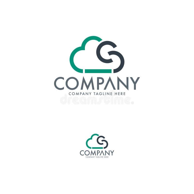 Σύγχρονο πρότυπο λογότυπων τεχνολογίας σύννεφων διανυσματική απεικόνιση
