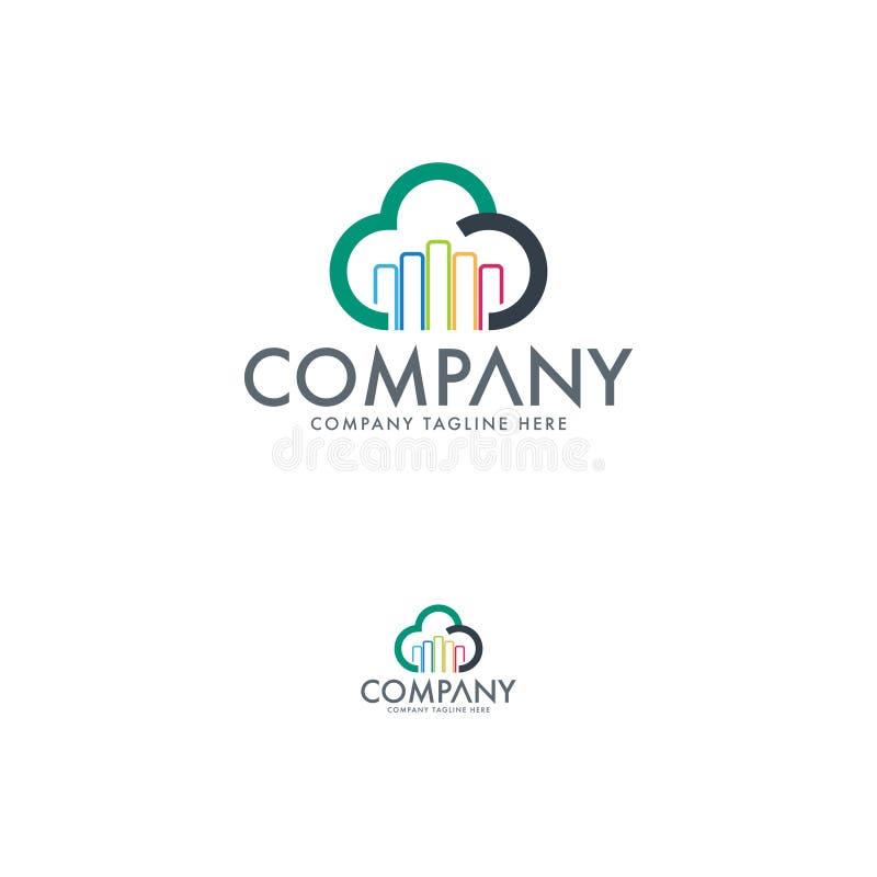 Σύγχρονο πρότυπο λογότυπων τεχνολογίας σύννεφων απεικόνιση αποθεμάτων