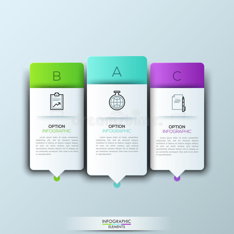 Σύγχρονο πρότυπο infographics με τις φουτουριστικά μορφές και τα εικονίδια εγγράφου για 3 επιλογές διανυσματική απεικόνιση