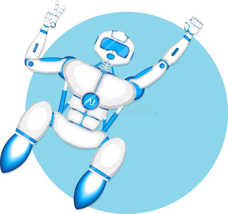 Σύγχρονο ρομπότ που απομονώνεται στο μπλε υπόβαθρο ελεύθερη απεικόνιση δικαιώματος