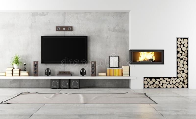 Σύγχρονο σαλόνι με την εστία απεικόνιση αποθεμάτων