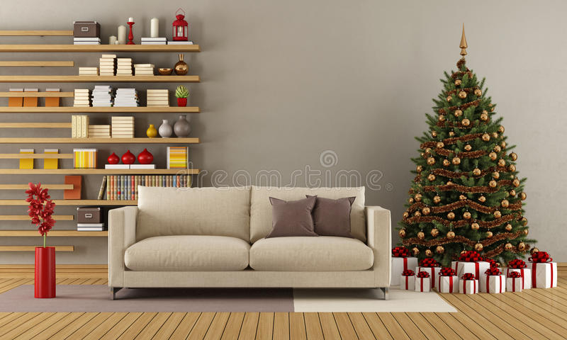 Σύγχρονο σαλόνι με το χριστουγεννιάτικο δέντρο απεικόνιση αποθεμάτων