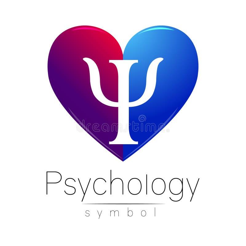 Σύγχρονο σημάδι καρδιών της ψυχολογίας Γράμμα PSI Δημιουργικό ύφος Στο διάνυσμα Έννοια σχεδίου Ιώδες μπλε χρώμα που απομονώνεται απεικόνιση αποθεμάτων