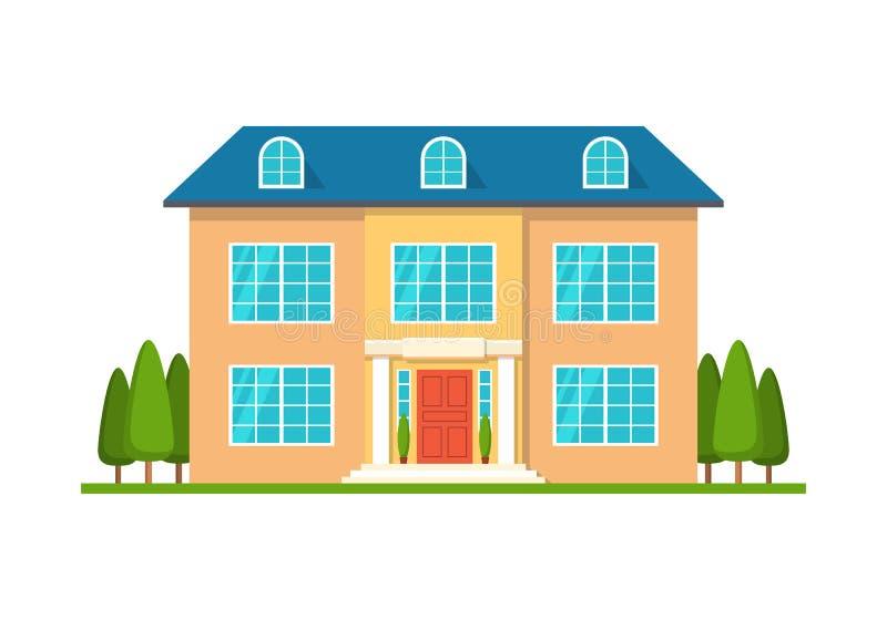Σύγχρονο σπίτι εξοχικών σπιτιών, μπροστινή άποψη, στο λευκό διανυσματική απεικόνιση