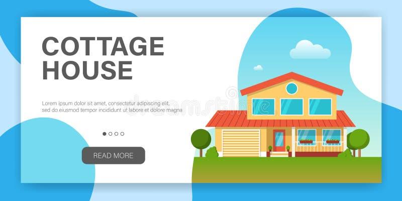 Σύγχρονο σπίτι εξοχικών σπιτιών Πρότυπο σχεδίου ιστοσελίδας απεικόνιση αποθεμάτων