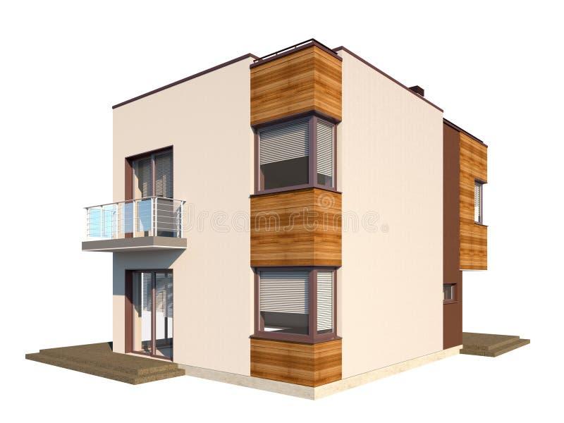 Σύγχρονο σύγχρονο σπίτι με μια επίπεδη στέγη που απομονώνεται στο άσπρο υπόβαθρο απεικόνιση αποθεμάτων