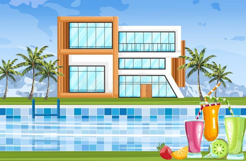 Σύγχρονο σπίτι με το διάνυσμα πισινών Περιβάλλοντα θερινής φύσης προσόψεων αρχιτεκτονικής διανυσματική απεικόνιση