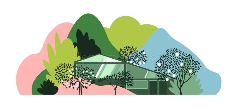 Σύγχρονο σπίτι στο δάσος μεταξύ των λόφων, των βουνών και των δασών στοκ εικόνα με δικαίωμα ελεύθερης χρήσης
