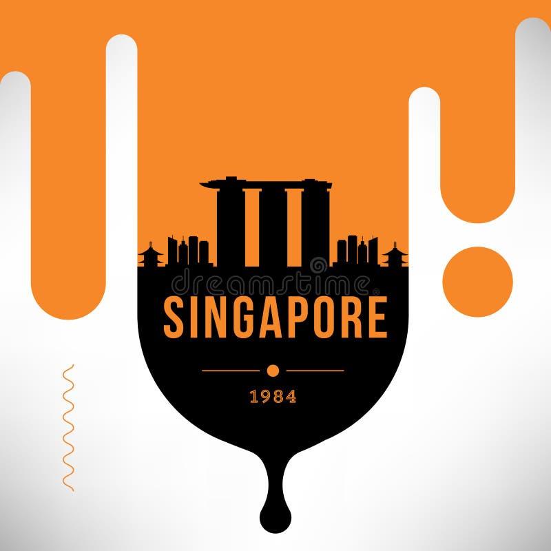 Σύγχρονο σχέδιο εμβλημάτων Ιστού της Σιγκαπούρης με το διανυσματικό γραμμικό ορίζοντα ελεύθερη απεικόνιση δικαιώματος