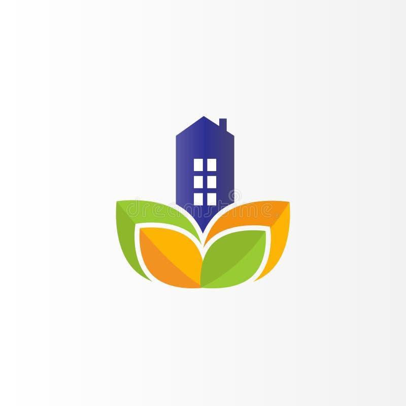 Σύγχρονο σχέδιο λογότυπων ακίνητων περιουσιών Επίπεδο λογότυπο με το φύλλο ελεύθερη απεικόνιση δικαιώματος