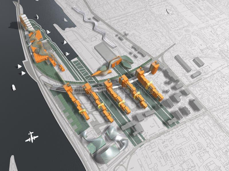Σύγχρονο σχέδιο πόλεων και λιμανιών απεικόνιση αποθεμάτων