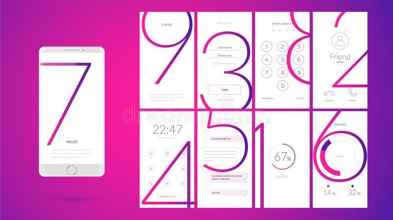 Σύγχρονο σχέδιο οθόνης UI για κινητό app με τα εικονίδια Ιστού ελεύθερη απεικόνιση δικαιώματος