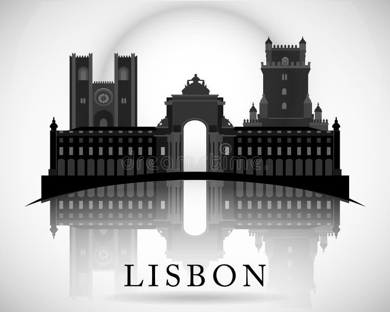 Σύγχρονο σχέδιο οριζόντων πόλεων της Λισσαβώνας Πορτογαλία ελεύθερη απεικόνιση δικαιώματος