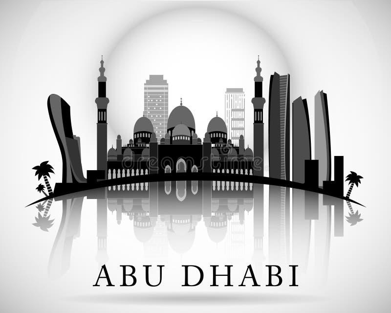 Σύγχρονο σχέδιο οριζόντων πόλεων του Αμπού Ντάμπι εμιράτα που ενώνονται αρα διανυσματική απεικόνιση