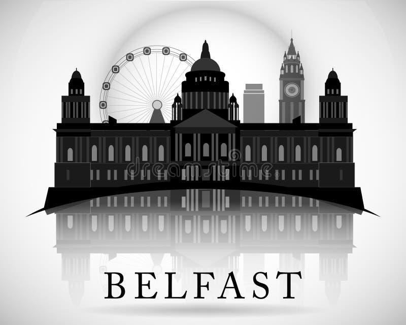 Σύγχρονο σχέδιο οριζόντων πόλεων του Μπέλφαστ Βόρεια Ιρλανδία διανυσματική απεικόνιση