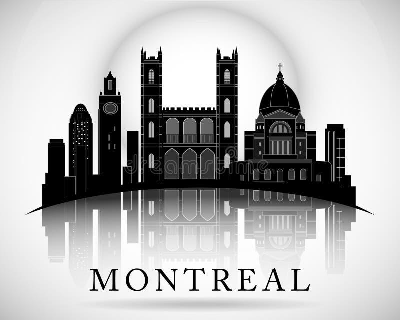 Σύγχρονο σχέδιο οριζόντων πόλεων του Μόντρεαλ Καναδάς διανυσματική απεικόνιση