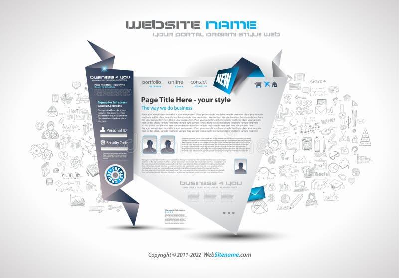Σύγχρονο σχέδιο προτύπων Ιστού Origami ύφους με τα στοιχεία σχεδίου Infographic ελεύθερη απεικόνιση δικαιώματος