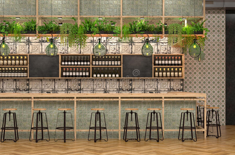 Σύγχρονο σχέδιο του φραγμού στο ύφος σοφιτών τρισδιάστατη απεικόνιση του εσωτερικού ενός καφέ με έναν μετρητή φραγμών με τον τρύγ διανυσματική απεικόνιση