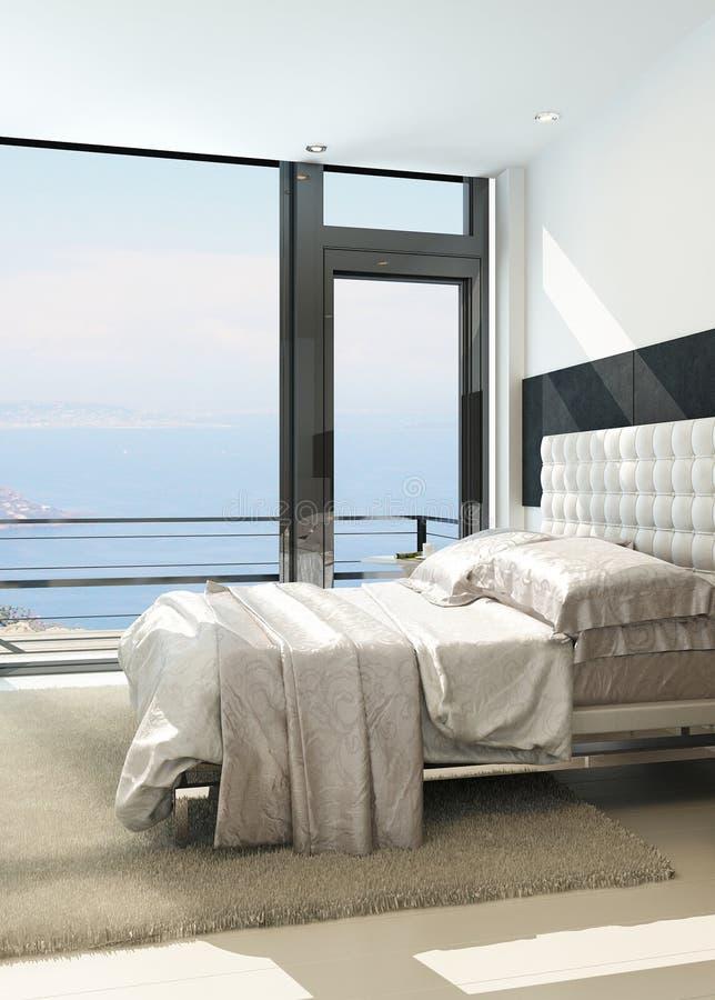 Σύγχρονο σύγχρονο ηλιόλουστο εσωτερικό κρεβατοκάμαρων με τα τεράστια παράθυρα ελεύθερη απεικόνιση δικαιώματος