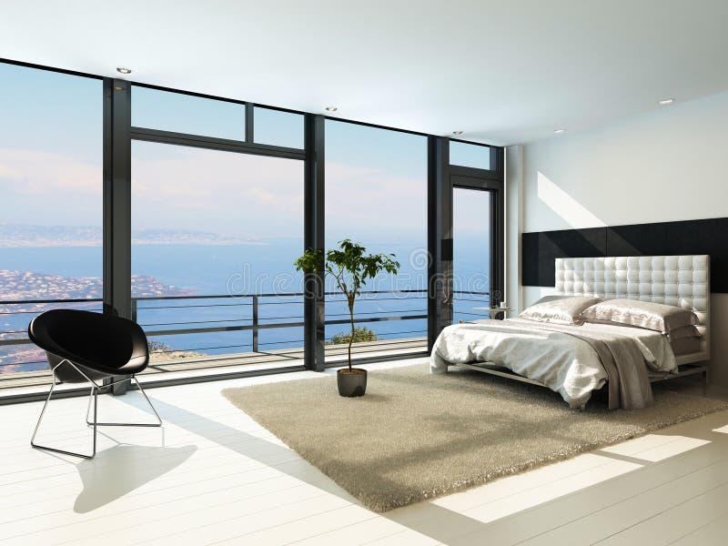 Σύγχρονο σύγχρονο ηλιόλουστο εσωτερικό κρεβατοκάμαρων με τα τεράστια παράθυρα απεικόνιση αποθεμάτων