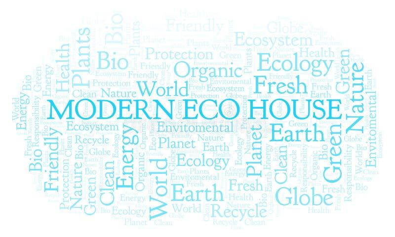 Σύγχρονο σύννεφο λέξης σπιτιών Eco απεικόνιση αποθεμάτων